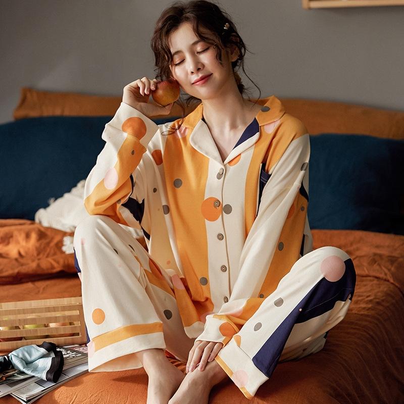 個性的なデザイン♪  部屋着 肌に優しい 睡眠 自宅 コットン 折り襟 長袖 ドット柄 長袖パジャマ・薄手 パジャマ