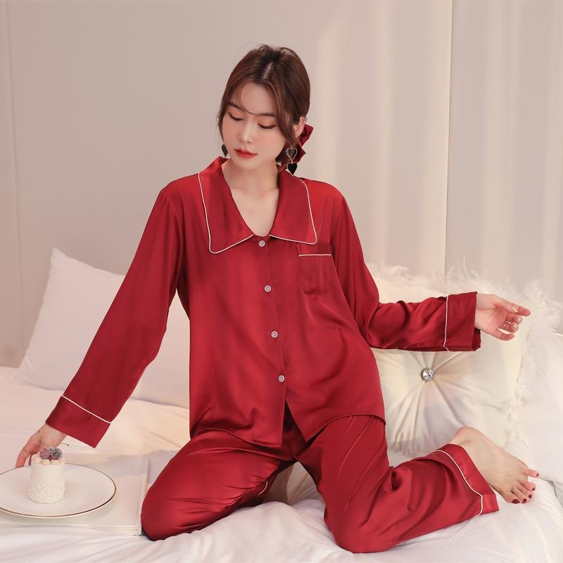 着心地抜群 ルーズ 折り襟 長袖 無地 切り替え ズボン 長袖 パジャマ