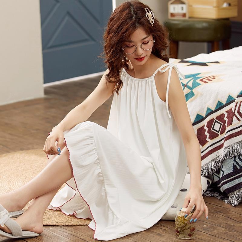 女性力を高める  肌に優しい 睡眠 自宅 コットン ラウンドネック ノースリーブ 無地 ワンピース パジャマ