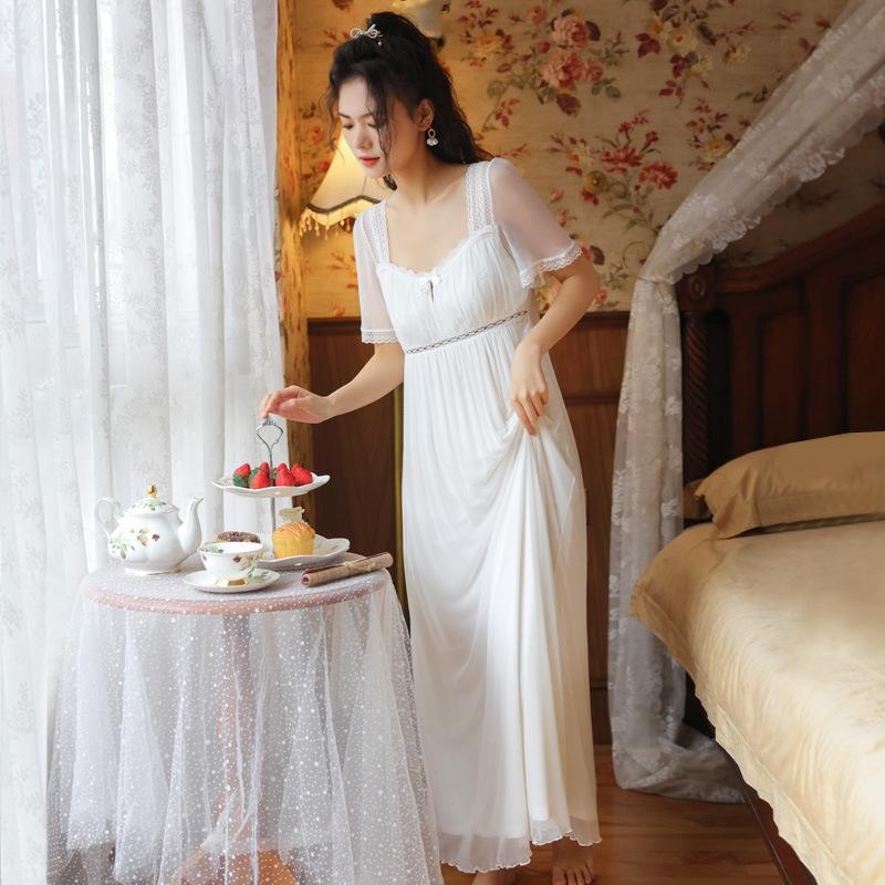 チャーミング ポリエステル スクエアネック 半袖 透かし彫り ワンピース パジャマ