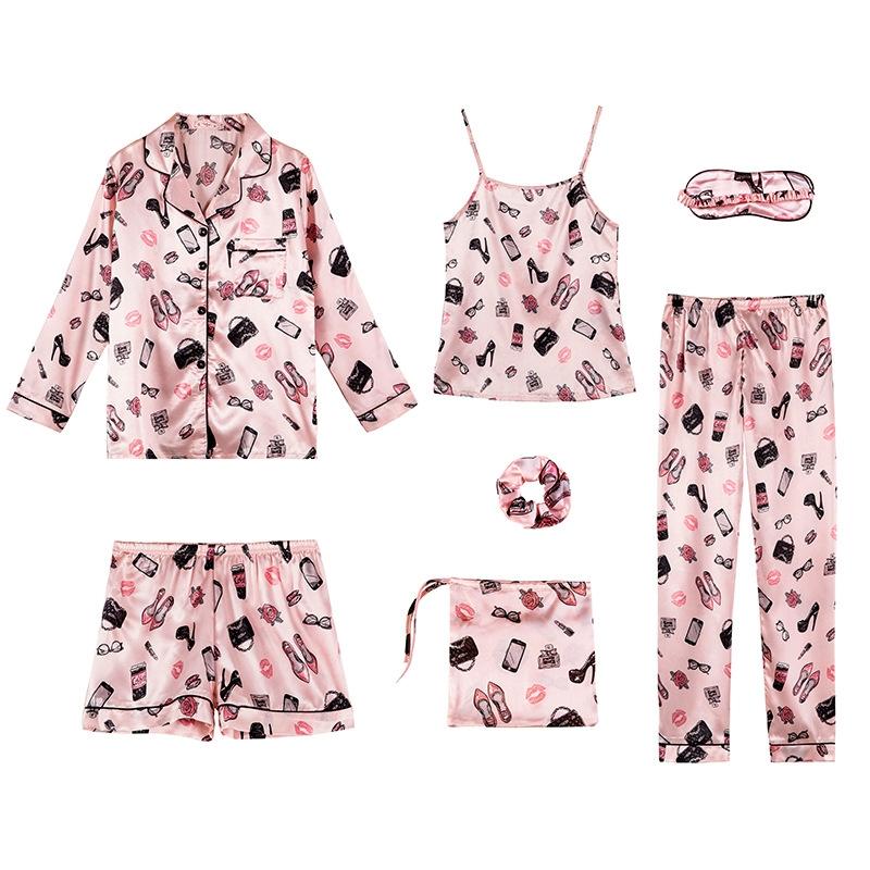 気質溢れる♪ 着心地抜群 ポリエステル 折り襟 長袖 ピンク パジャマ 七点セット