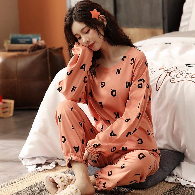 個性的なデザイン♪  肌に優しい 睡眠 自宅 コットン ラウンドネック 長袖 長袖パジャマ・薄手 パジャマ
