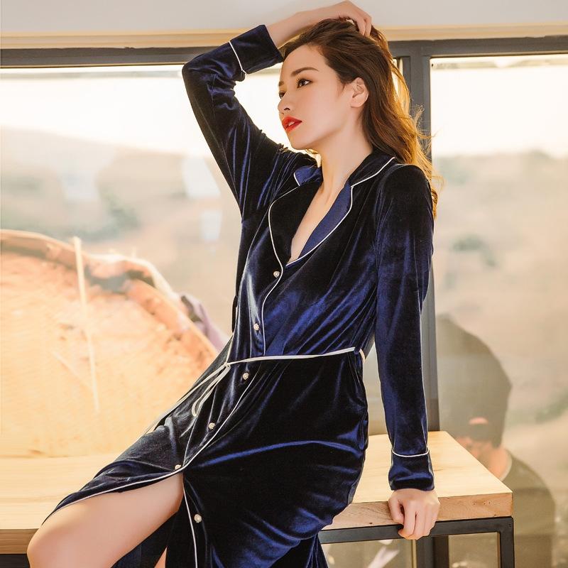 デザイン感 ベルベット 折り襟 ロング ルームウェア 冬秋 快眠 柔らか ウエストリボン 長袖 ワンピース 薄手