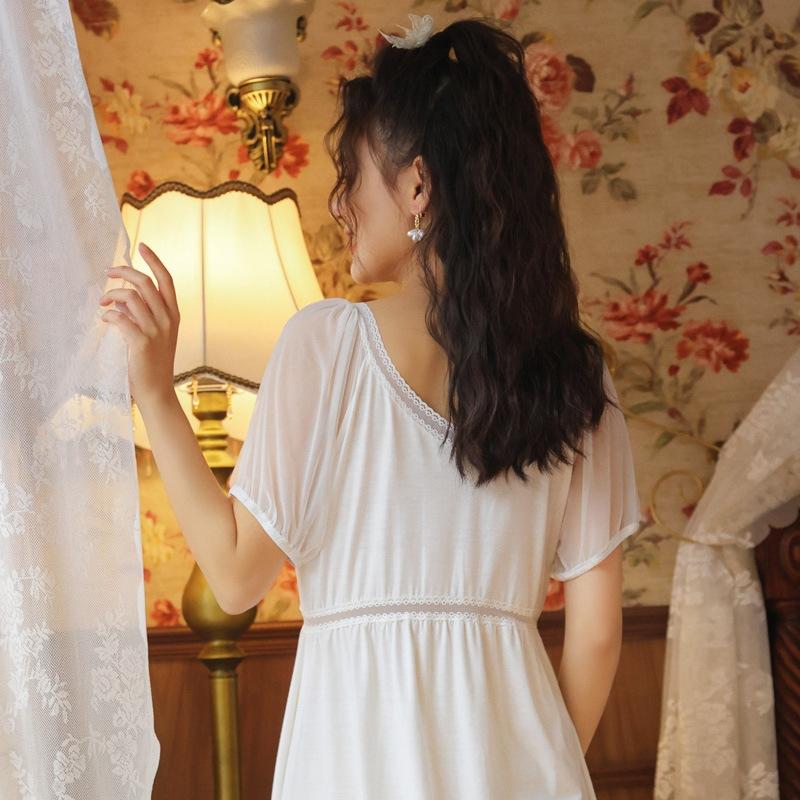 清純甘くて女子力UP! コットン Vネック 半袖 切り替え ワンピース パジャマ