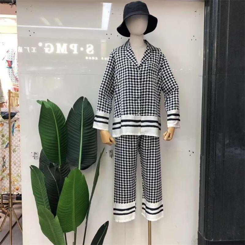 今季トレンド 折り襟 長袖  千鳥格子 ヒョウ柄 ズボン 長袖 パジャマ