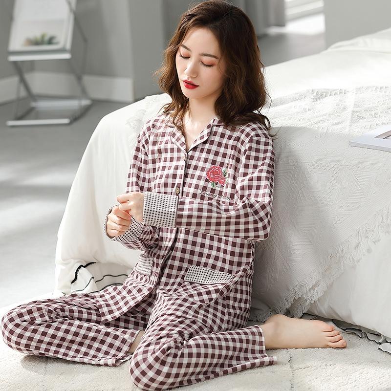 着心地抜群  肌に優しい 睡眠 自宅 コットン 折り襟 長袖 チェック柄 長袖パジャマ・薄手 パジャマ