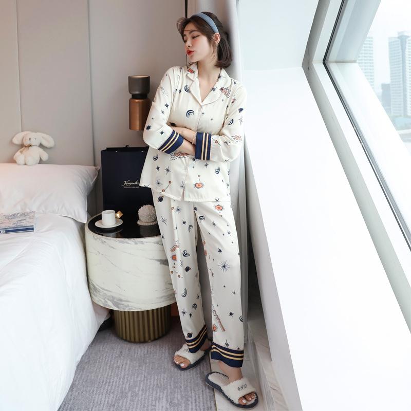合わせやすい 折り襟 長袖 プリント  切り替え 配色 ズボン 長袖 パジャマ