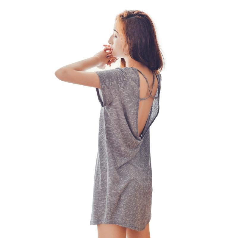 スタイリッシュ 大人のセクシー  抜群の肌触り 柔らかい 肌に優しい 部屋着 睡眠 自宅 コットン 半袖 バックレス ワンピース パジャマ
