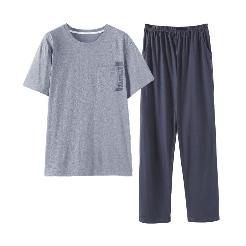 カジュアル ラウンドネック 半袖 無地  Tシャツ パンツ パジャマセット メンズ