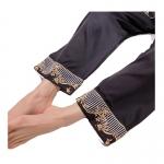 女性力を高める 折り襟 長袖 無地 切り替え 足首丈 長袖 ボトムス パジャマ