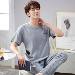 カジュアル コットン ラウンドネック Tシャツ パンツ パジャマセット メンズ