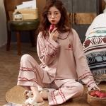 スタイリッシュ  部屋着 肌に優しい 睡眠 自宅 コットン 折り襟 長袖 イチゴ 長袖パジャマ・薄手 パジャマ