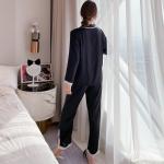 女性力を高める~ 折り襟 長袖 無地 切り替え ズボン 長袖パジャマ