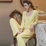 女性力を高める~ ショールカラー 長袖 無地 切り替え 長袖 パジャマ