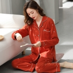 好感度満載  部屋着 肌に優しい 睡眠 自宅 コットン 折り襟 ハート 長袖 長袖パジャマ・薄手 パジャマ